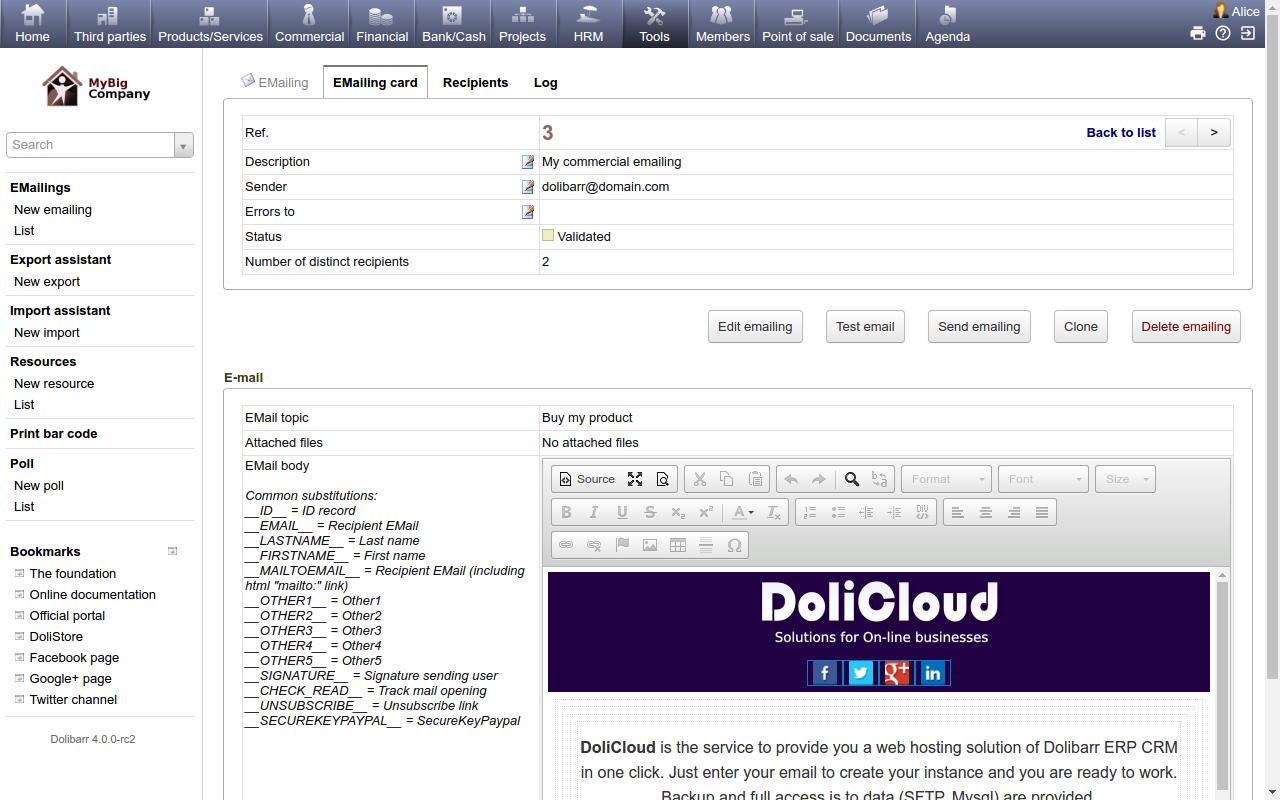 DoliCloud ERP e CRM