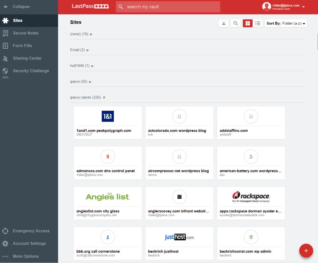 Interface de um LastPass