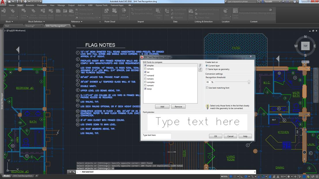 geometria importação ou camadas subjacentes no desenho atual como objetos AutoCAD As últimas melhorias incluem o reconhecimento de SHX texto importado.