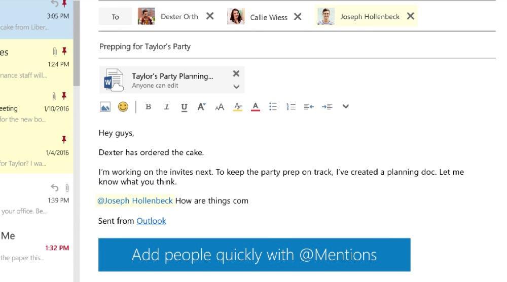 Citação e adicionar um destinatário no Outlook