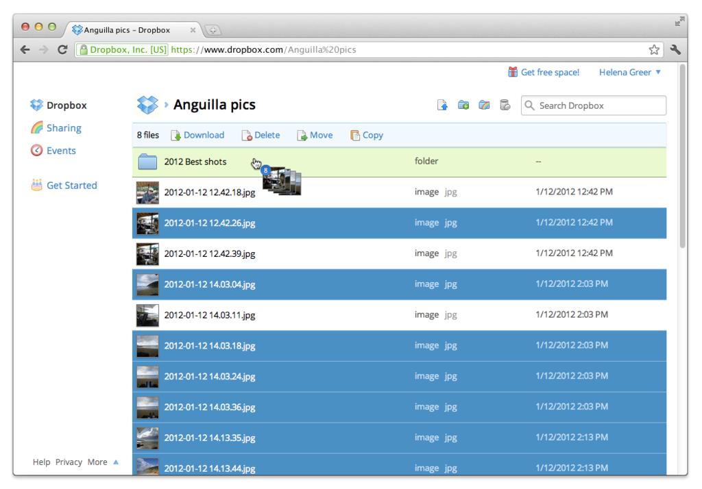 DropBox: Adaptive Web Interface, biblioteca de documentos, Documento Data Stamp