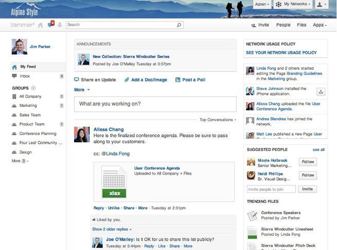 Yammer: Publicação e compartilhamento de conteúdo, base de conhecimento, wiki, Secure Sockets Layer (SSL)