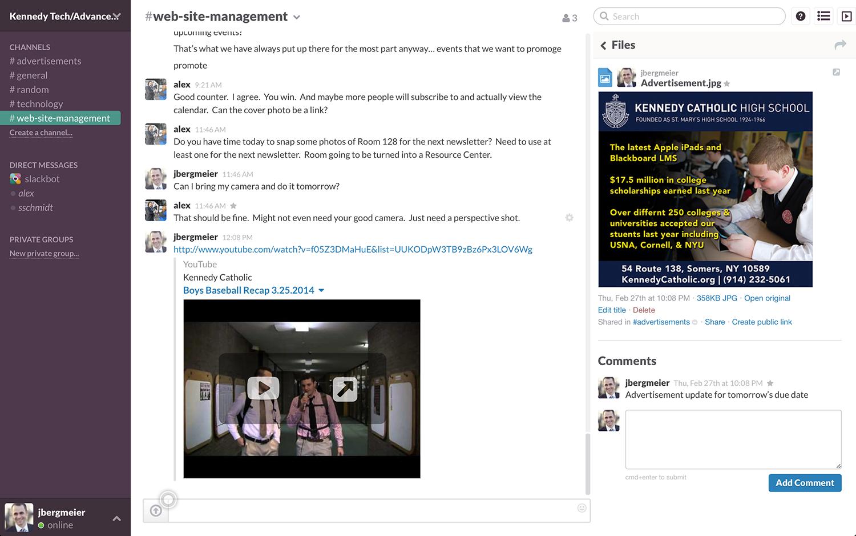 Slack: Shared contatos, notificações, integração com redes sociais
