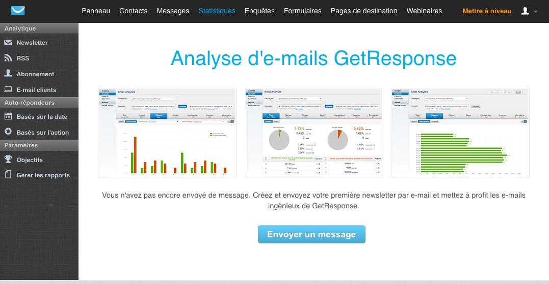 GetResponse: dados de importação e exportação (CSV, XLS), webinars Alojamento, Polls